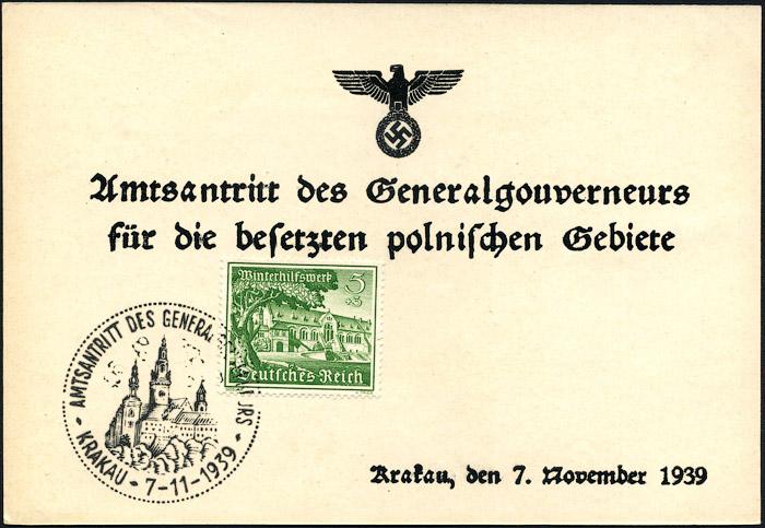 Kasownik Amtsantritt des Generalgouverneurs – Krakau 7. 11.1939