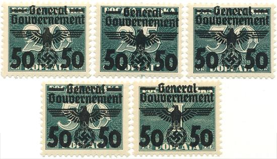 Przedruki na znaczkach dopłaty z lat 1938/39