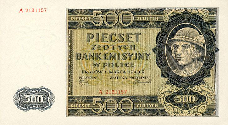 Generalna Gubernia 500zl 1940