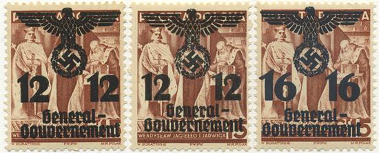 Przedruki na znaczku 15 gr z serii 20-lecia Niepodległości w zmienionym rysunku