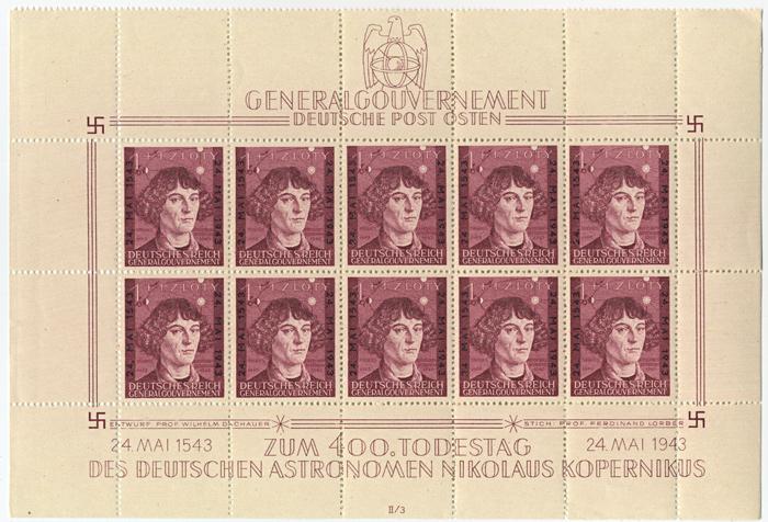 Arkusz znaczka 104 1943, 24 maja. Wydanie z okazji 400-lecia śmierci Mikołaja Kopernika