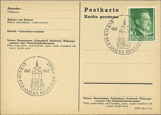Kasownik 24 - Lublin 600 Jahres deutsche Stadt 1342 - 1942 3-4 X 1942