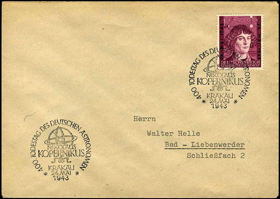 Kasownik 31- 400. Todestag des deutschen Astronomen Nikolaus Kopernikus Krakau 24. Mai 1943