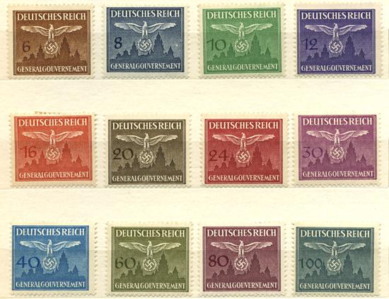 Znaczki urzędowe GG Seria 25-36 1943, kwiecień. Niemieckie godło na tle Wawelu