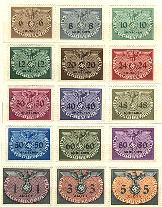 Znaczki urzędowe seria U1-15 1940 kwiecień