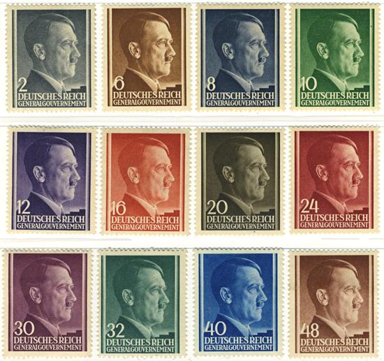 Seria 71-82 1941, 24 października. Wydanie obiegowe z portretem Hitlera na jednolitym tle