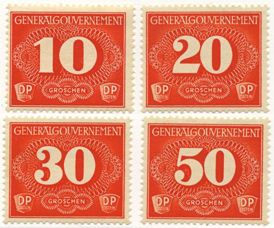 Znaczki GG Seria doręczeniowa Fi. D1-D4 1940 r. ** MNH-0