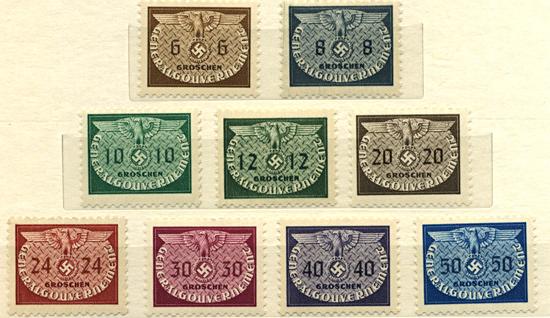Znaczki GG Seria urzędowa Fi. U16-24 1940 r. czyste ** MNH-0