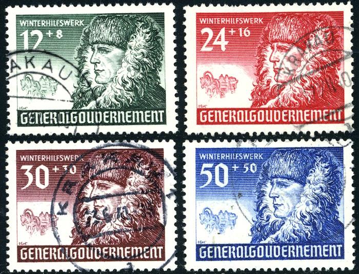 Znaczki GG Seria Fi. 59-62 1940 r. kasowane-0