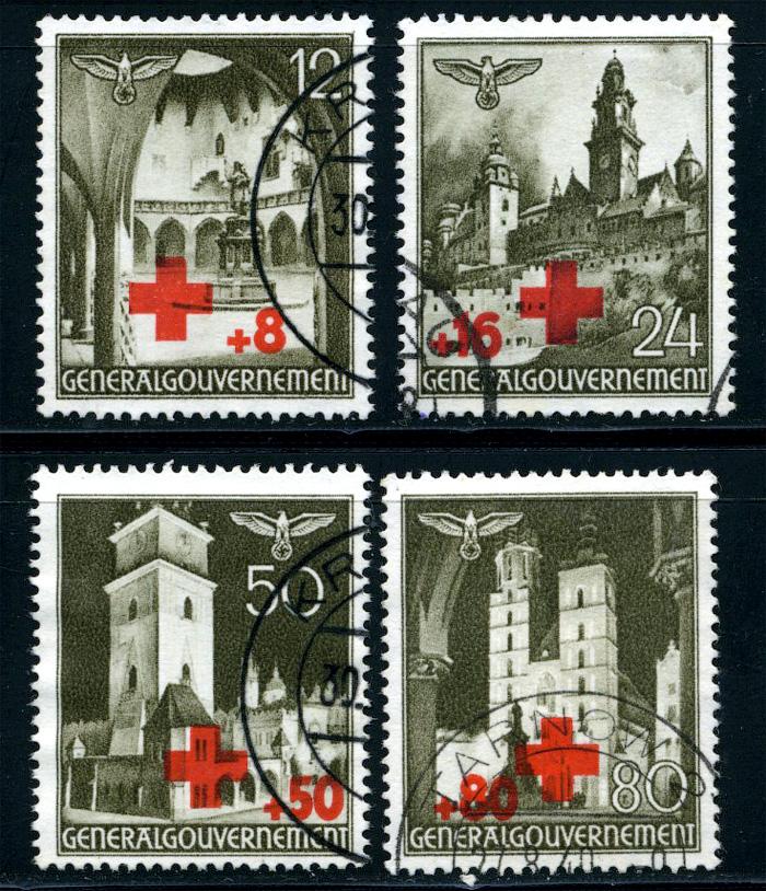 Znaczki GG Seria Fi. 52-55 1940 r. kasowane-0