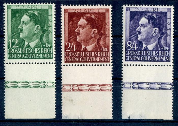 Znaczki GG Seria Fi. 117-119 1944 r. czyste ** MNH z dolnym margiesem-554