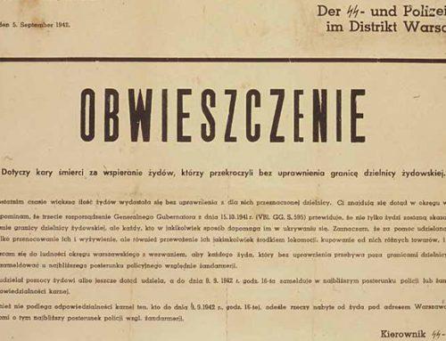 15 X 1941 – Rozporządzenie o karze śmierci dla Żydów opuszczających getto