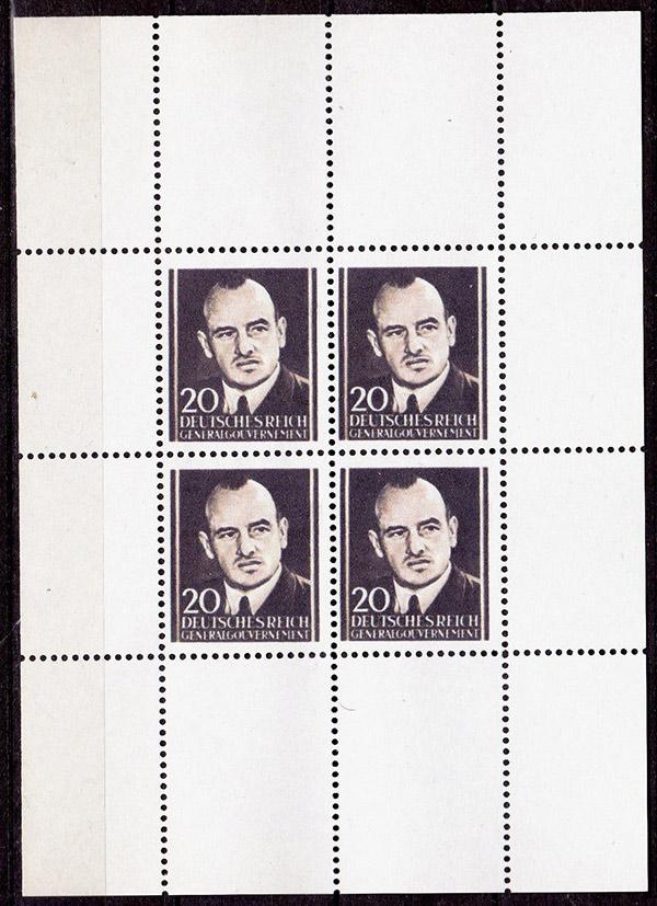Fałszywy arkusik znaczka dywersyjnego z podobizną gubernatora Hansa Franka