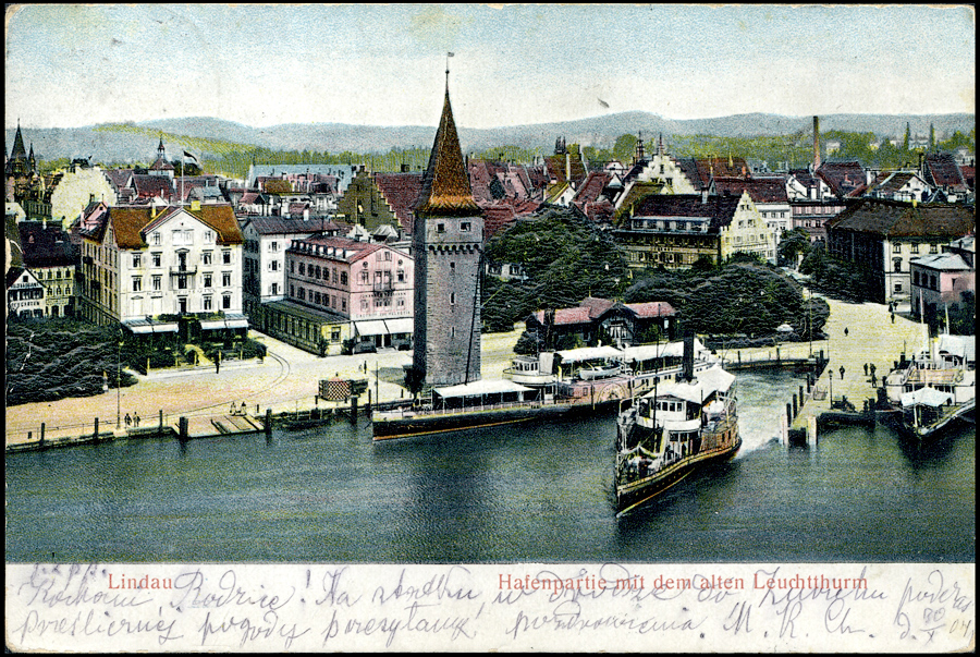 LINDAU HAFENPARTIE MIT DEM ALTEN LEUCHTTURM - 1904 JAHR-0