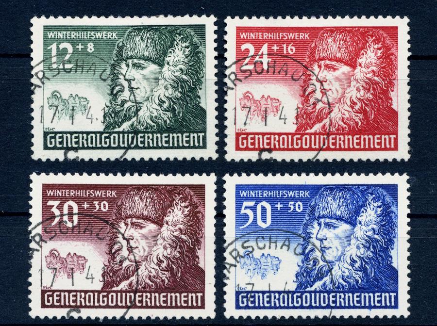 Znaczki GG Seria Fi. 59-62 1940 r. kasowane WARSCHAU-0