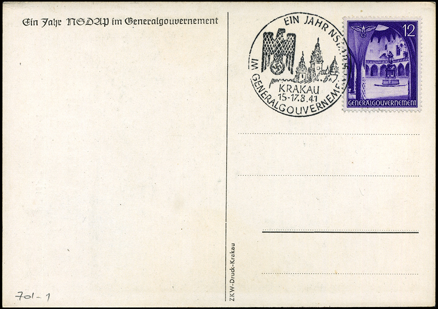 Karta propagandowa Tag der NSDAP im Generalgouvernement 15-17 August 1941r.