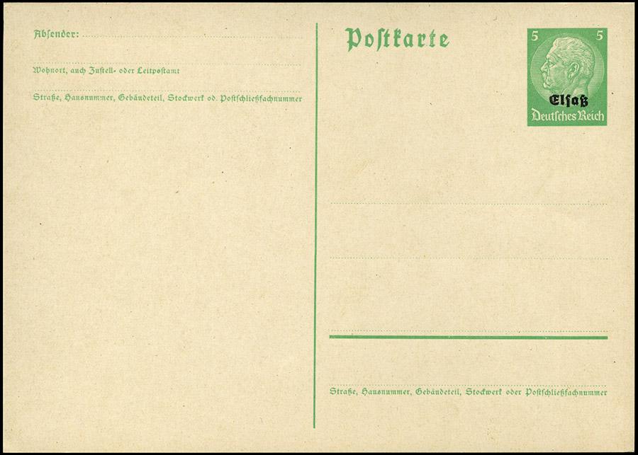 Okupacja niemiecka ALZACJA - GANZSACHE ELSASS Mi. P1, 5 Pf. 1940