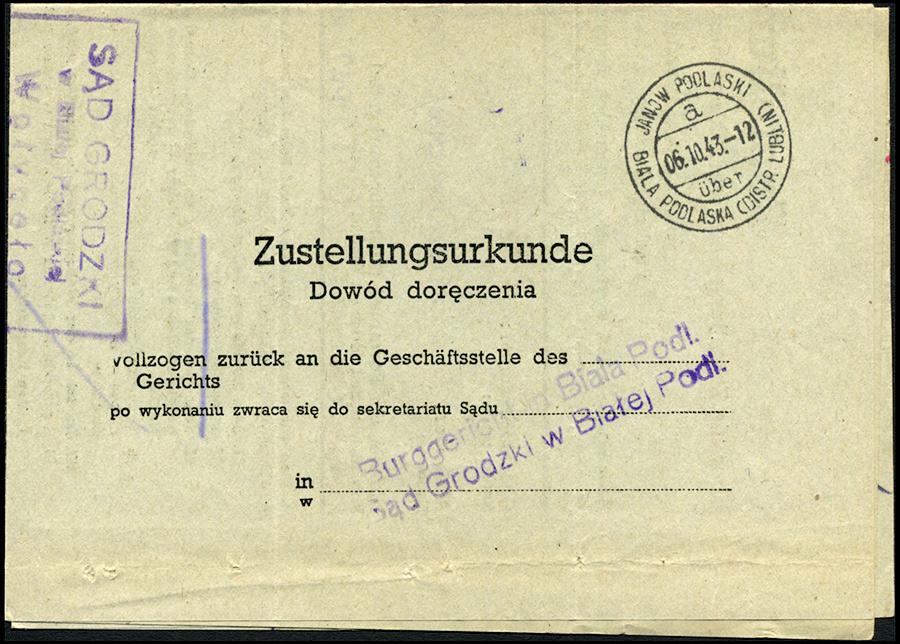 GG - Zustellungsurkunde - Dowód doręczenia Janów Podlaski 1943