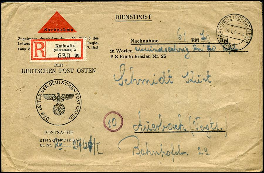 GG - KOPERTA Fk7 VERSANDSTELLE KATTOWITZ R-Nachnahme 1943