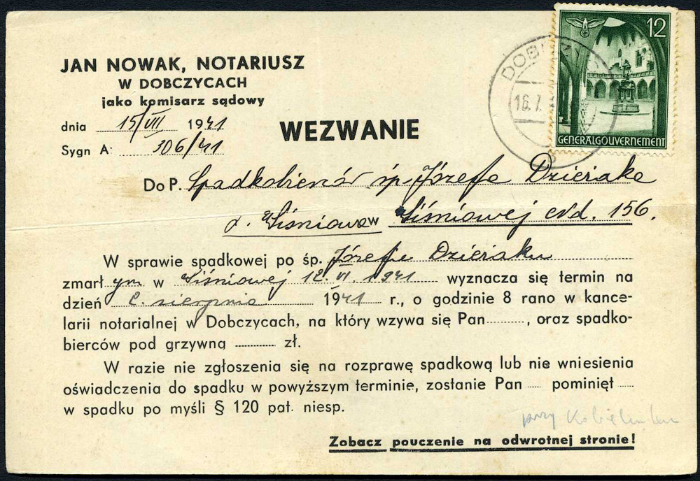 GENERALGOUVERNEMENT - Wezwanie- NOTARIUSZ DOBCZYCE - WIŚNIOWA 1941