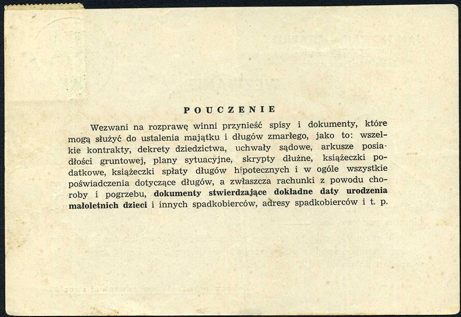 GENERALGOUVERNEMENT - Wezwanie- NOTARIUSZ DOBCZYCE - SIERAKOW 1941