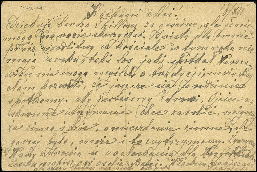 GG Postkarte CZĘSTOCHOWA - MŁOCHÓW NADARZYN R.G.O. XII 1944