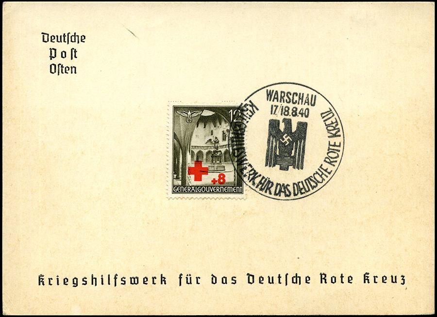 GG kasownik SST 4B Kriegshilfswerk fur das deutsche Rote Kreuz 1940 Warschau