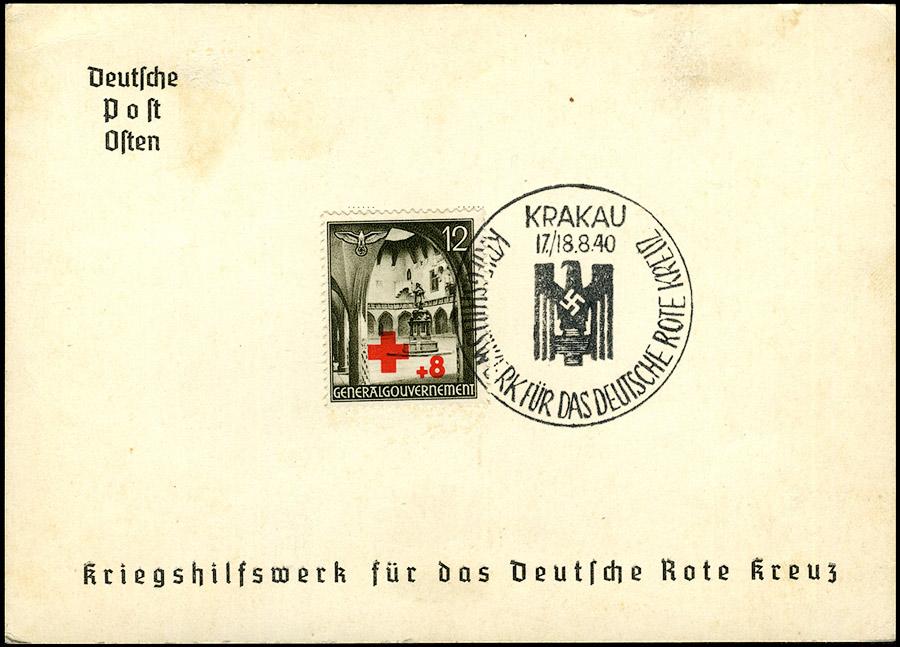 GG kasownik SST 4A Kriegshilfswerk fur das deutsche Rote Kreuz 1940 Krakau
