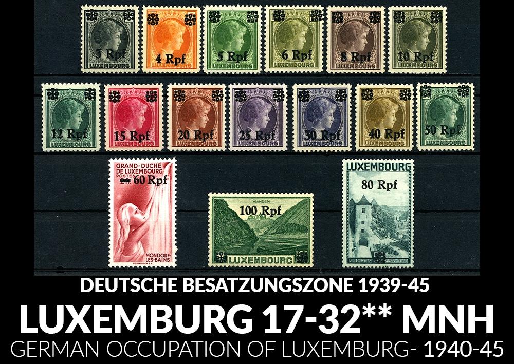 DEUTSCHE BESATZUNGSZONE - LUXEMBURG Mi. 17-32 1940 MNH**