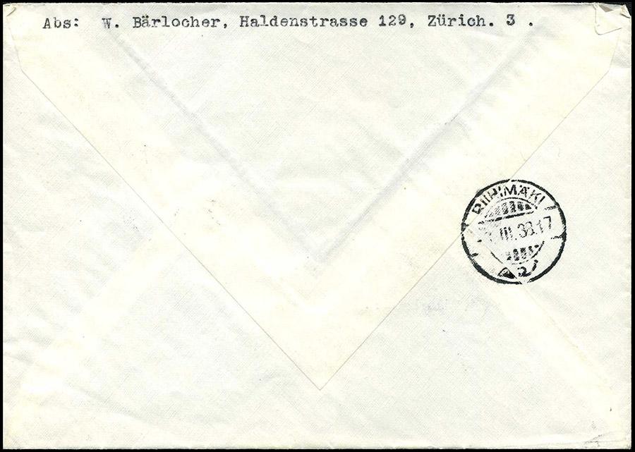 LETTER - SWITZERLAND TO FINLAND 1938