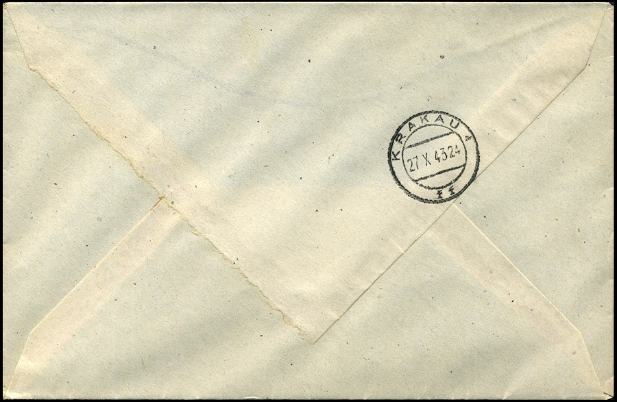 SSt- Kasownik nr 34 Vier Jahre Generalgouvernement R-brief Krakau Mi. 116 1943