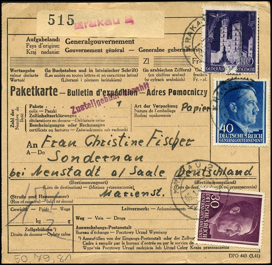 GG - PAKETKARTE - Adres pomocniczy Krakau 2 - SONDERNAU beu Neustadt 1943