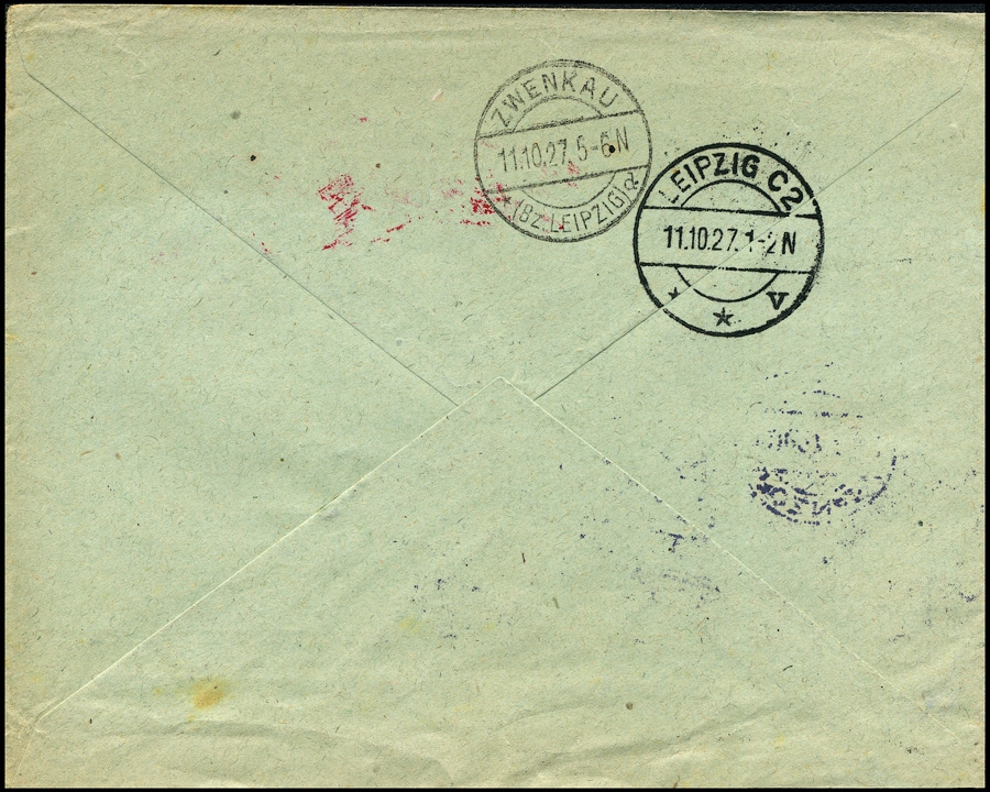 List polecony Bank Związku Spółek Zarobkowych POZNAŃ - Zwenkau/ Lipsk 1927