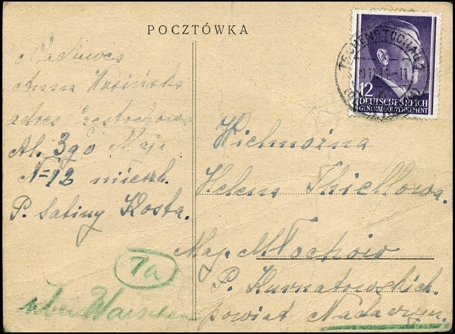 GG Postkarte CZĘSTOCHOWA - MŁOCHÓW NADARZYN XI 1944 Powstanie Warszawskie