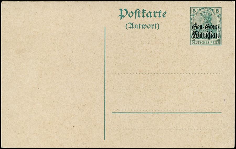 Okupacja niemiecka I Wojna Światowa- Ganzache całostka Fi.Cp4B Gen.-Gouv Warschau 1916