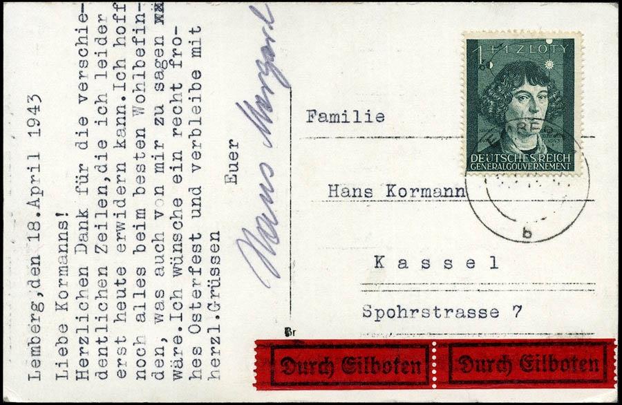 GG Pocztówka - postkarte LEMBERG- KASSEL Mi. 100 1943