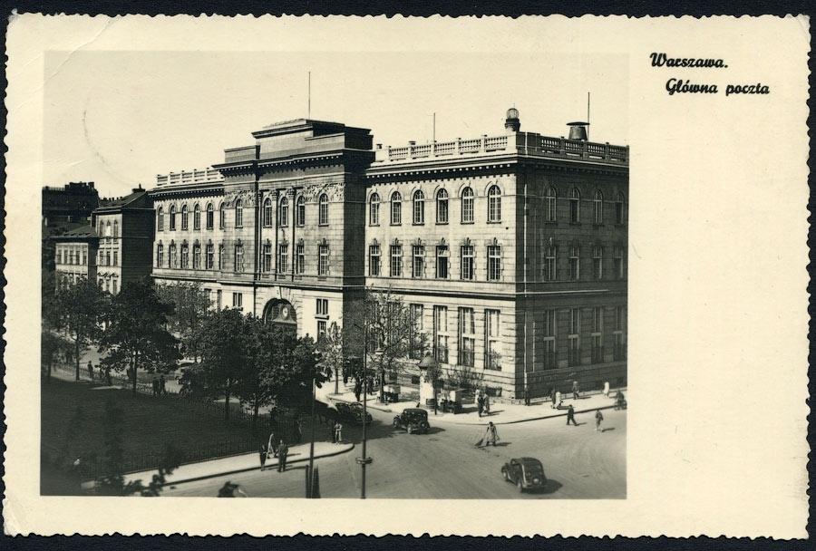 GG Pocztówka - postkarte WARSCHAU Poczta Główna / Hauptpost 1940