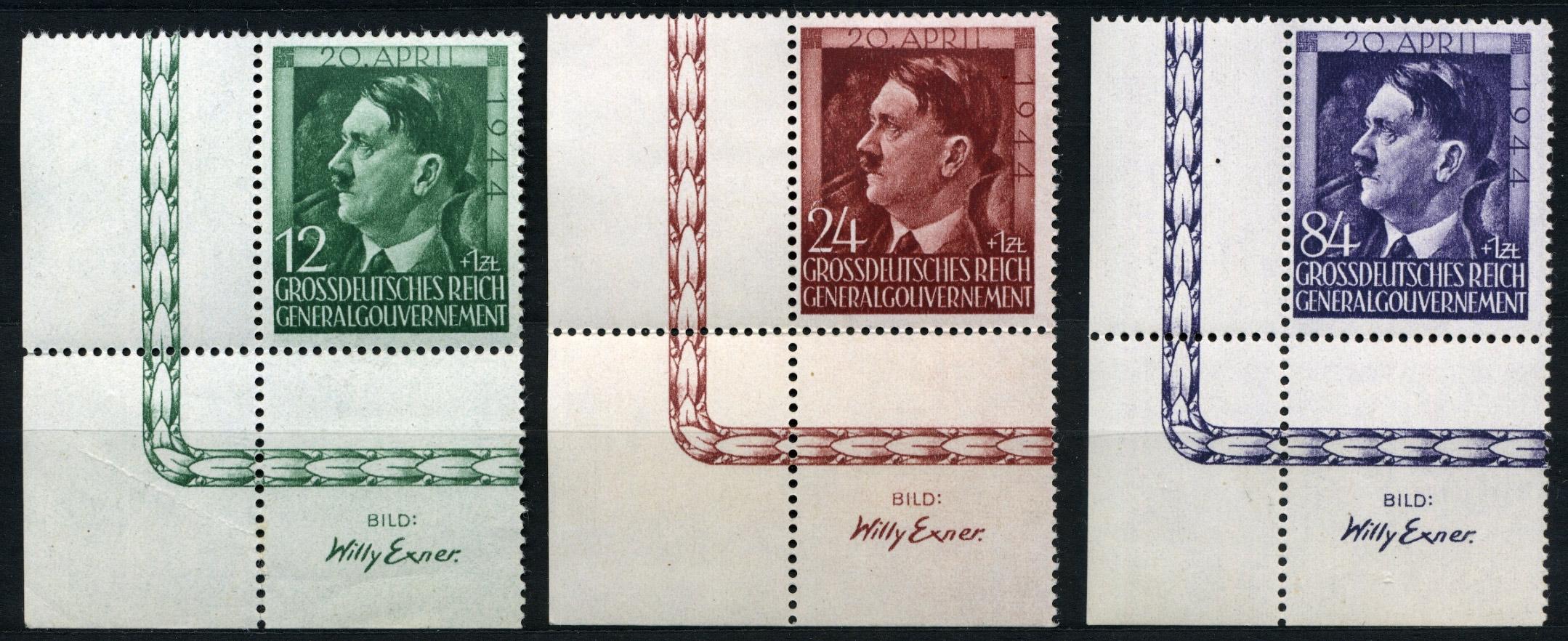 Generalgouvernement Mi. 117-119 1944 r. czyste ** MNH z dolnego rogu arkusza