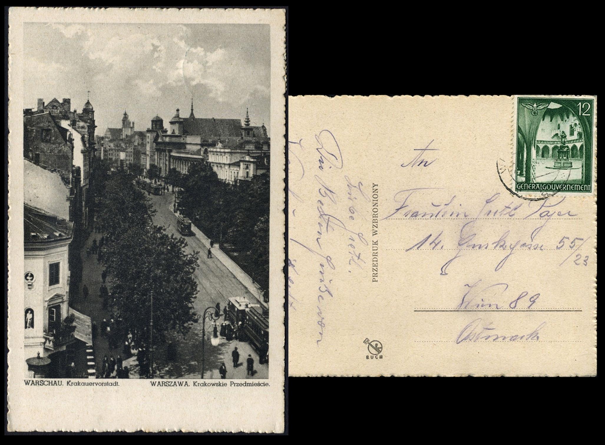 GG Pocztówka - postkarte WARSCHAU Krakauervorstadt Krakowskie Przedmieście 1940