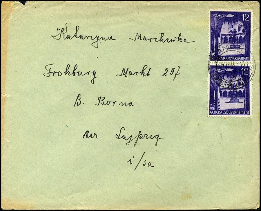 GG- list ZAMOŚĆ - FROHBURG 1942 robotnik przymusowy / Zwangsarbeiter