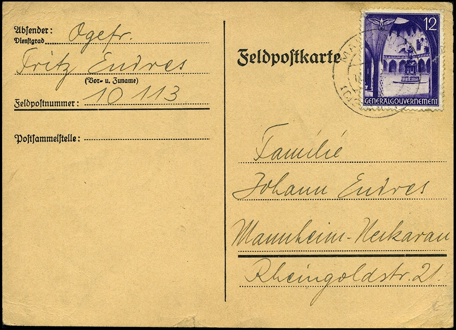 GG- Feldpostkarte MALKINIA - Mannheim 1942