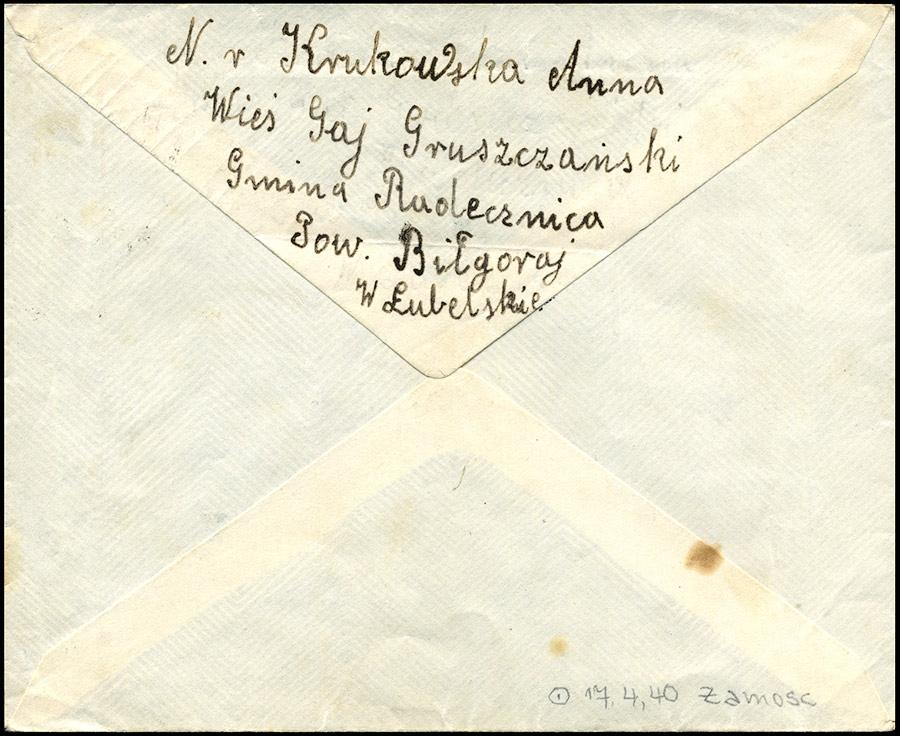 Generalguvernement - list ZAMOŚĆ - FROHBURG 1940