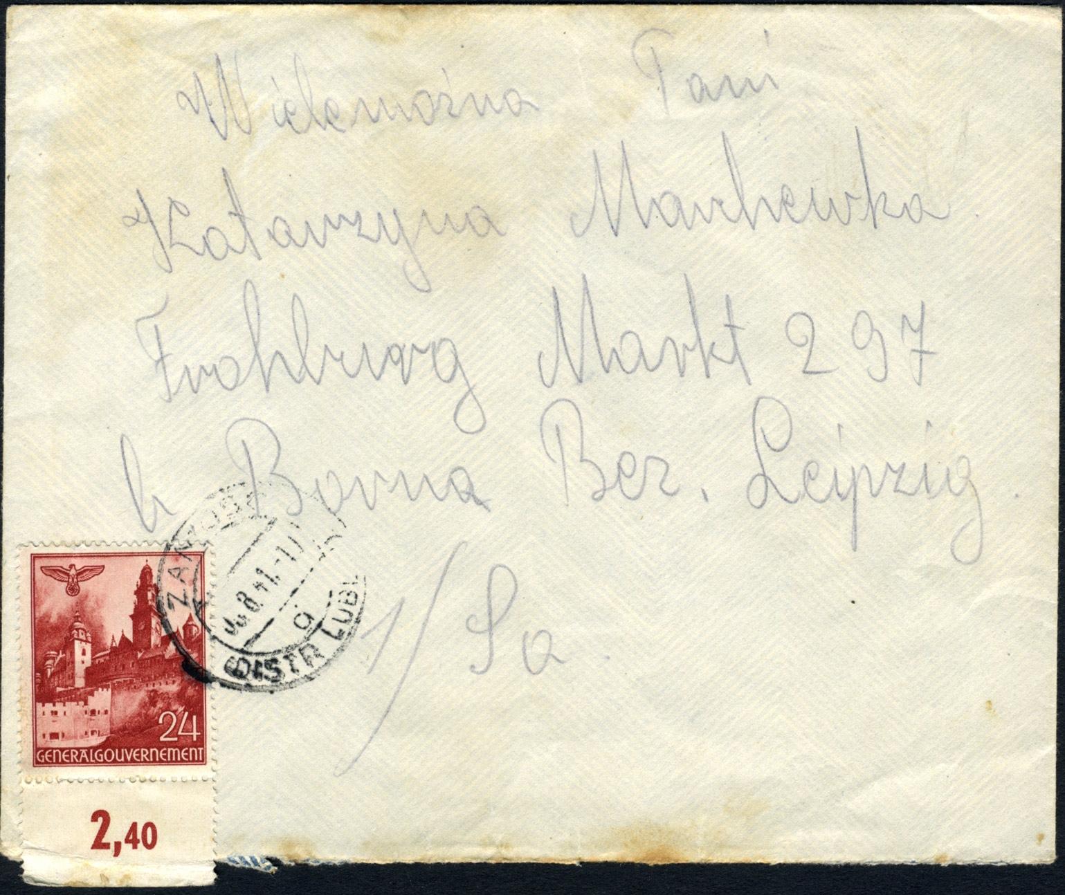 Generalguvernement - list ZAMOŚĆ - FROHBURG 1941 VICTORIA brief