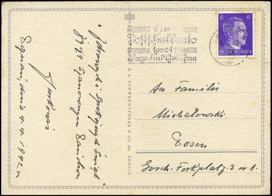 Warthegau - Kraj Warty pocztówka - postkarte POSEN 1942