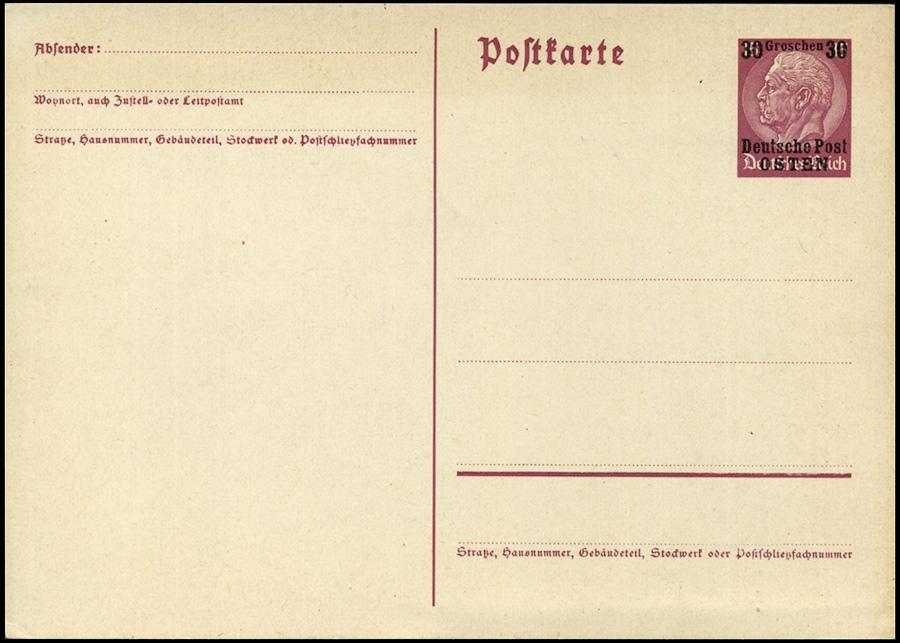 Generalgouvernement - GANZACHE P1 / P2 Deutsche Post Osten 1939