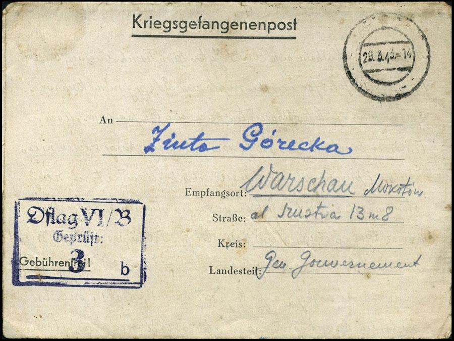 KRIEGSGEFANGENENPOST POCZTA JENIECKA - Oflag VIG Bonn-Duisdorf 1943