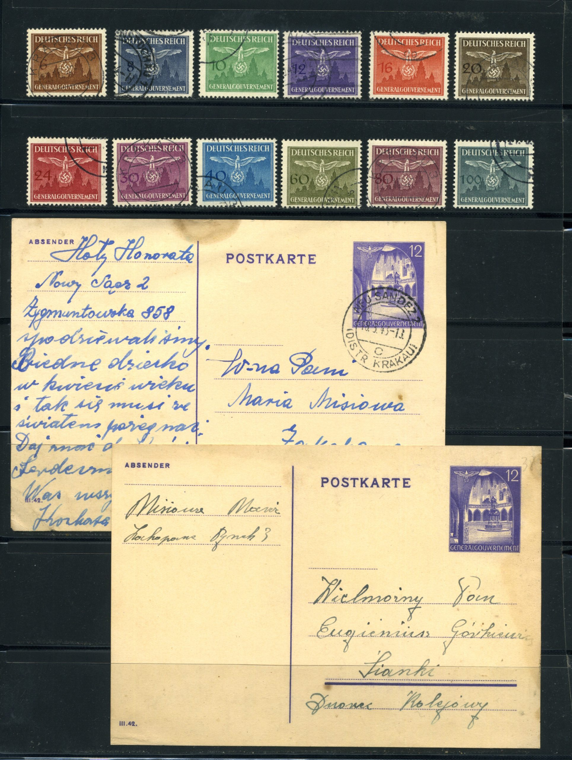 Komplet znaczków kasowanych Generalgouvernement 1933-44 All stamps USED
