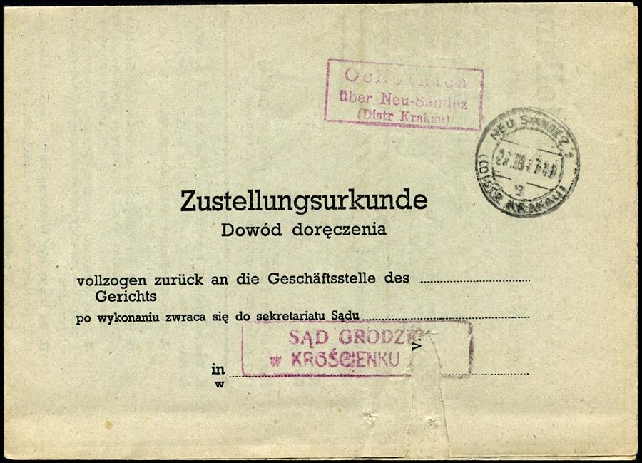 GG - Zustellungsurkunde - Dowód doręczenia OCHOTNICA uber NEU SANDEZ 1942