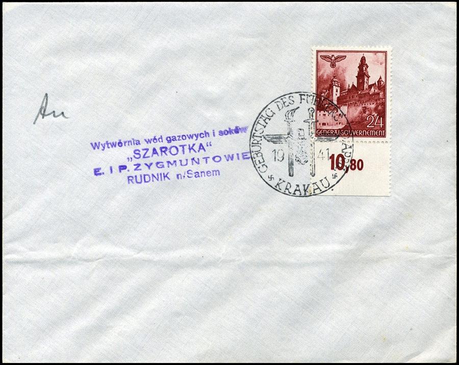 SST Kasownik 9A KRAKAU Geburtstag des Führers Wytwórnia Wód Gazowanych SZAROTKA Rudnik n/ Sanem1941