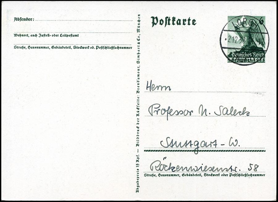 III Rzesza - Zajęcie Kraju Sudeckiego, Sudetenland Ganzsache P275 1938